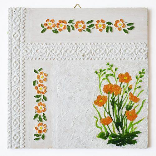 Szalagos sorozat – Narancssárga virágok/Lace ribbon series – Orange flowers