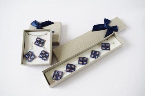 Négyzetes ékszerszett – sötétkék-lila-ezüst/Squared jewellery set - dark blue-purple-silver