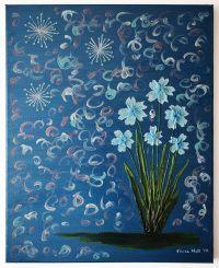 Kék virágok - sötétkék/Blue flowers - dark blue